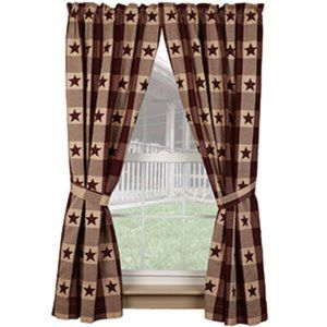 Country new Burgundy STAR checked Window Panels